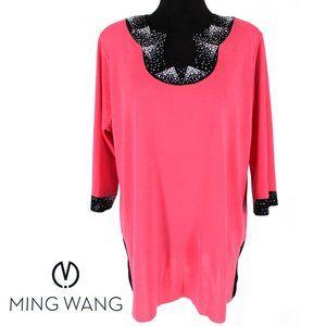 Ming Wang Pink Embellished Tunic Top Size XL